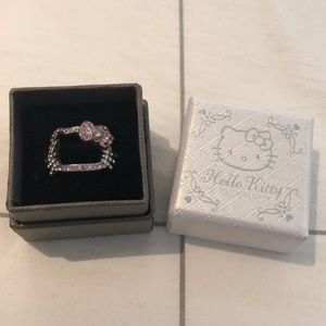 Hello Kitty Pink/White Sterling Silver Ring